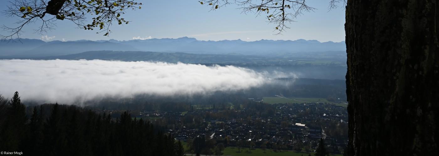 Hohenpeißenberg Bergblick mit Sonne